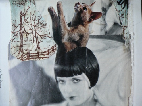 Collage: Louise Brooks with Cat